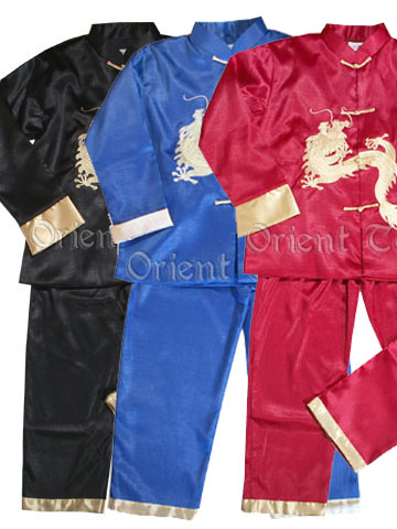 Boy's Dragon Embroidery Long-Sleeved Suit