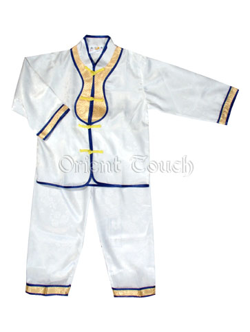 Boy's Long-Sleeved Kung-Fu Suit with Golden Patches