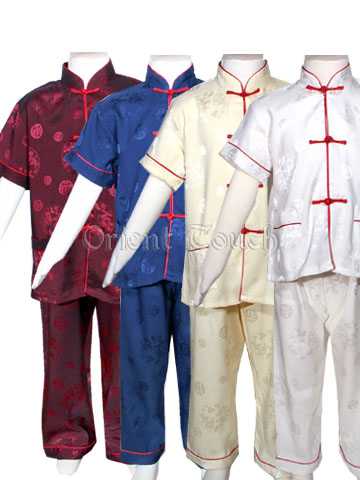 Boy's Short-Sleeved Kung-Fu Suit with Red Trims