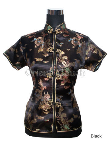 Bargain Item - Dragon and Phoenix Short-Sleeved Blouse