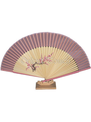 Hand-Painting Rayon Folding Fan - Plum Blossom