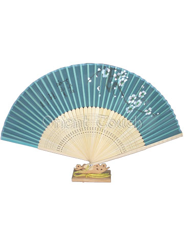 Silk Folding Fan - White Plum Blossom