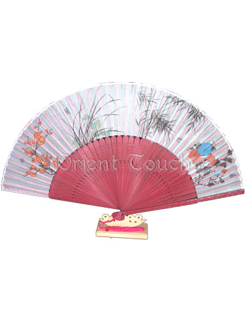 Silk Folding Fan - Four Men of Honor