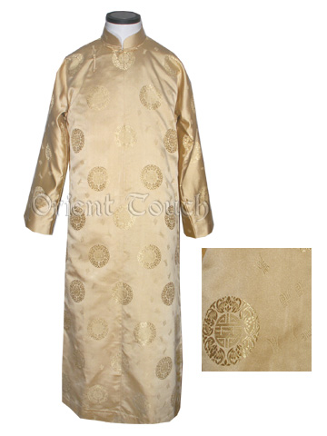 Chinese Blessing Silk Brocade Long Gown