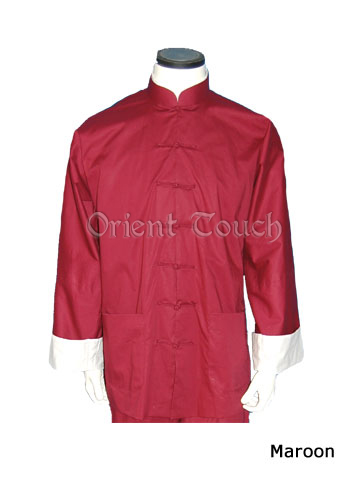 Men's Cotton Long-sleeve Shirt - Maroon