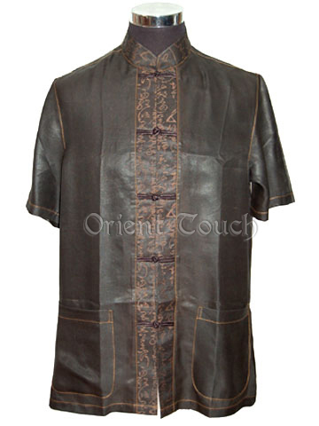 Men's Xiangyun Silk Short-Sleeve Shirt - Chinese Poem