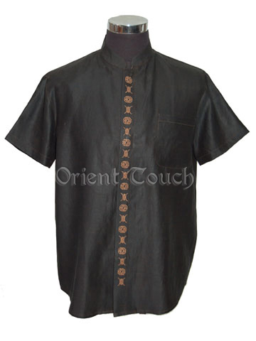 Men's Xiangyun Silk Short-Sleeve Shirt - Chinese Characters