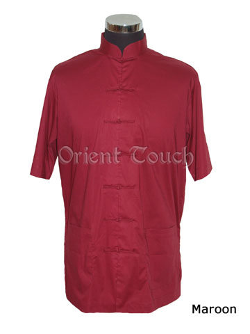 Men's Cotton Short-sleeve Shirt - Maroon