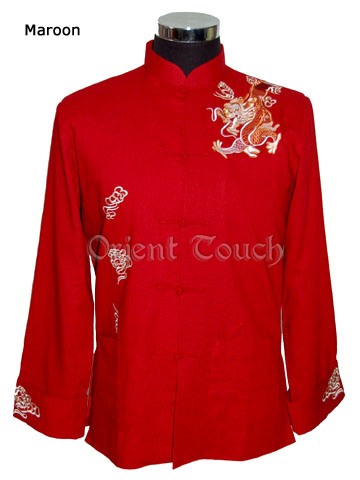 Men's Linen Jacket - Dancing Dragon Embroideries