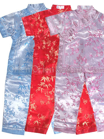 Girl's Short-Sleeved Suit - Bamboo and Plum Blossom