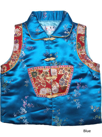 Girl's Wadded Brocade Vest