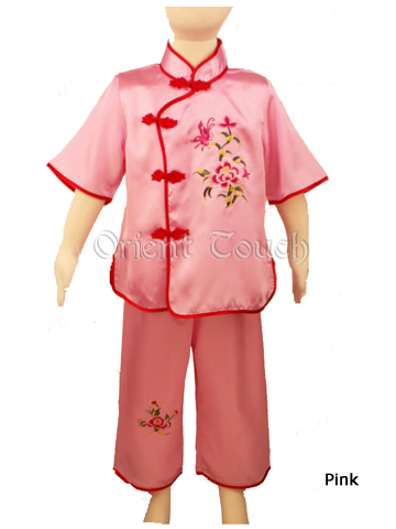 Girl's Short Sleeve Phoeny Embroidery Suit