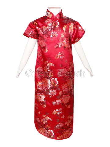Girl's Cheongsam - Phoenix and Flowers