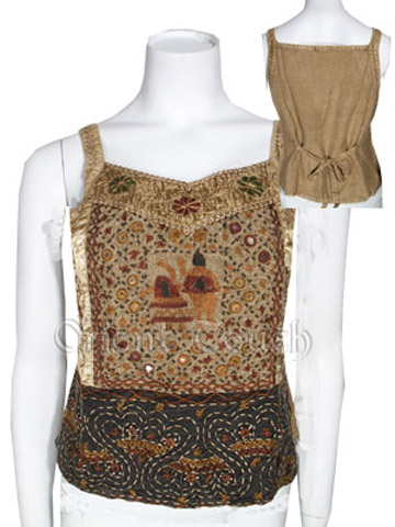 Ethnic Apparel - Embroidered Strap Top with Mirrors