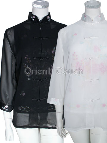 Women's Voile Shirt with Embroidery Vest Set