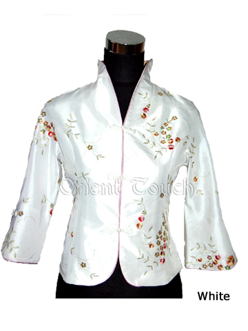 Chinese Elbow-Length Thai Silk Embroidery Blouse