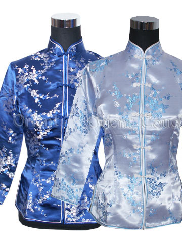 Plum Blossom Mandarin Long-Sleeved Blouse