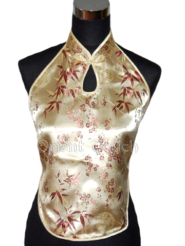 Chinese Traditional Brocade Halter Top