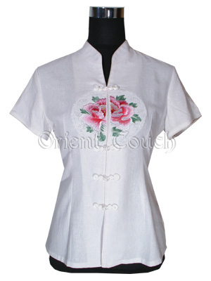 Embroidery Peony Short-Sleeved Blouse