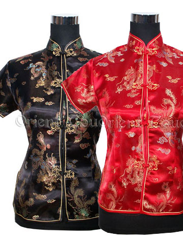 Dragon and Phoenix Short-Sleeved Blouse