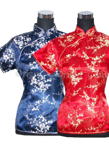 Plum Blossoms Overlap Short-Sleeved Blouse