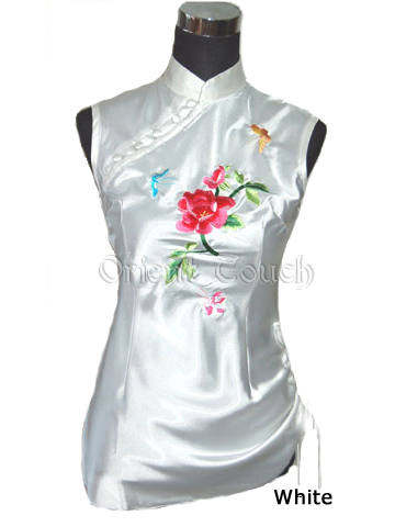 Women's Satin Embroidery Shirt - Blooming Peony