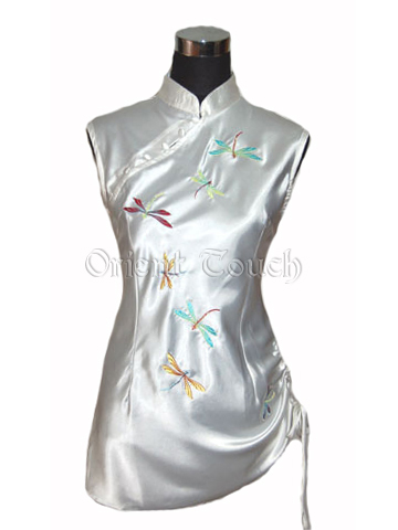Women's Satin Embroidery Shirt - Flying Dragonfly