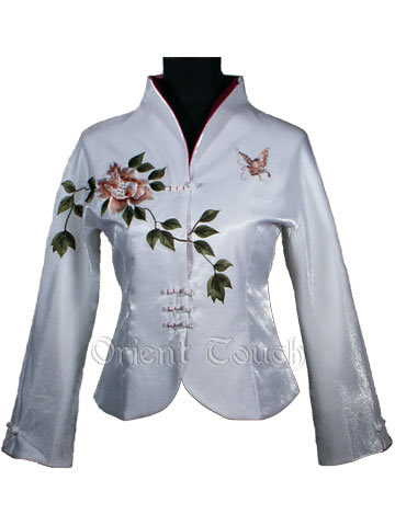 Rayon Embroidery Jacket - Flying Butterfly and Blooming Peony