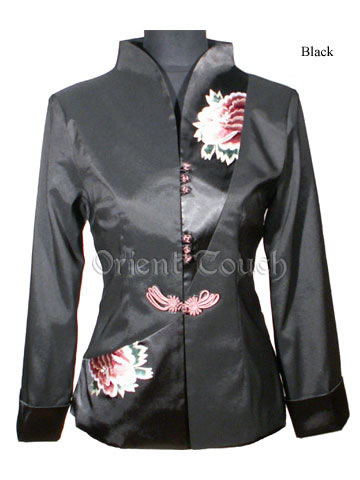 Rayon Embroidery Jacket - Asymmetry Peonies