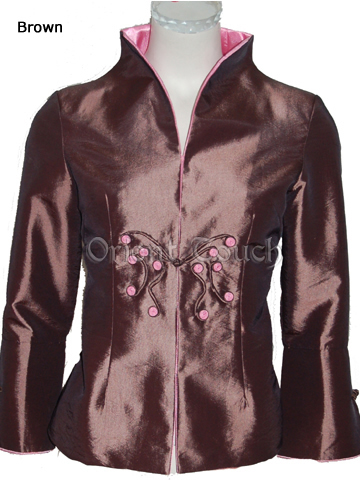 Women's Thai Silk Jacket with Butterfly Button