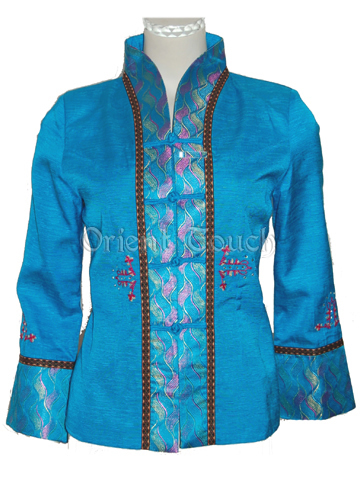 Women's Floral Embroidery Silk Jacket