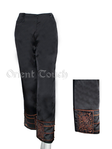 Embroidery Straight Leg Satin Pants