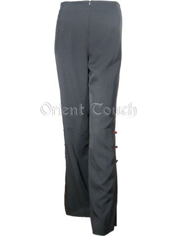 Mandarin Straight Leg Rayon Pants with 3 Frogs