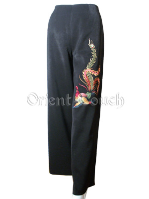 Embroidery Peacock Pants