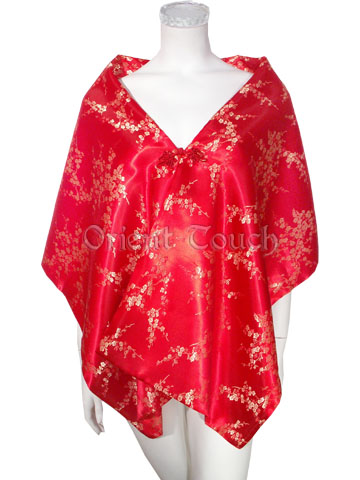 Brocade Shawl - Plum Blossoms in Red