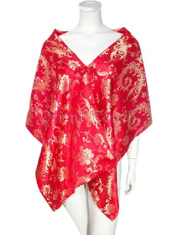 Brocade Shawl - Floral Phoenixes in Red