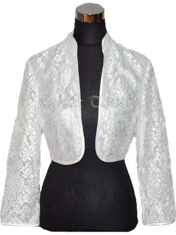 Chic Lace Shawl Jacket - With Collar