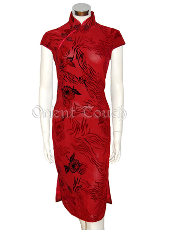 Women's Silk Velour Dress - Blooming Floral