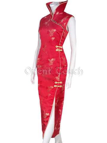 Dancing Phoenix with Prosperous Peony Wedding Cheongsam
