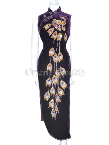 Embroidery Peacock Velour Cheongsam
