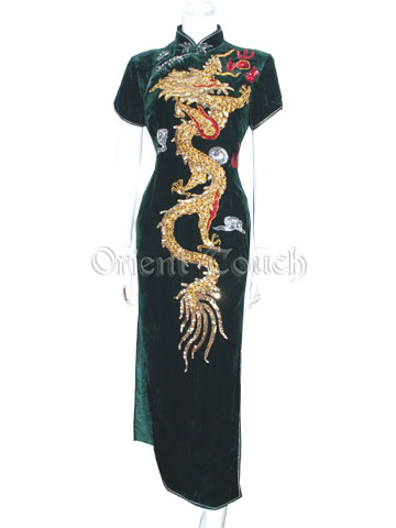 Embroidery Dancing Dragon Velour Cheongsam