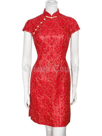 China Red Prom Lace Cheongsam