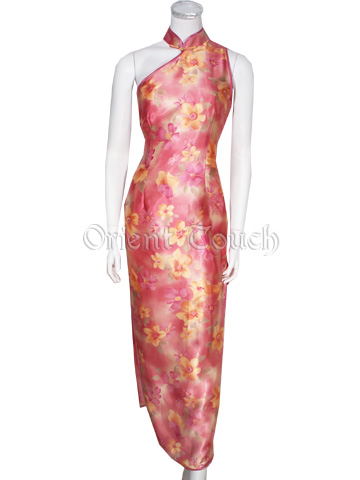 Garden of Splendors Asymmetry Satin Cheongsam