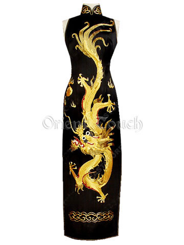 Dancing Dragon Gold Embroidery Wedding Dress - Black