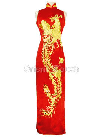 Luxurious Dancing Phoenix Gold Embroidery Cheongsam - Red