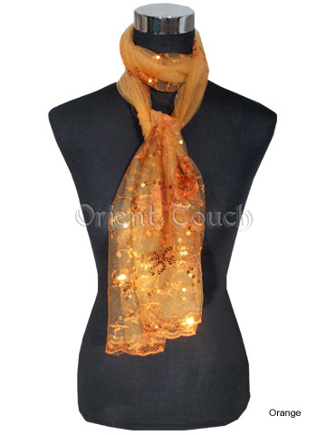Brilliant Nylon Voile Embroidery Long Scarf